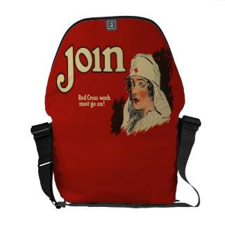 Vintage WW1 Red Cross Nurse Recruitment Messenger Bag
