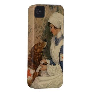 Vintage WW1 Red Cross Nurse with Golden Retriever iPhone 4 Case