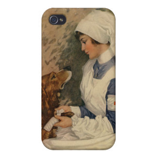Vintage WW1 Red Cross Nurse with Golden Retriever iPhone 4 Case