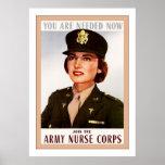 Vintage WW2 del ~ del cuerpo de enfermera del ejér Posters