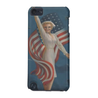 Vintage WW2 Patriotic Nurse in Uniform with Flag iPod Touch 5G Case