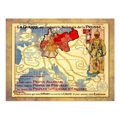 Vintage WWI map poster of Prussia Post Card