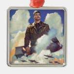 Vintage WWII Air Force Poster Design Square Metal Christmas Ornament