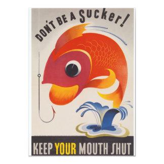 Vintage WWII American Propaganda Fish 4.5x6.25 Paper Invitation Card