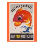 Vintage WWII American Propaganda Fish Postcard