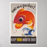 Vintage WWII American Propaganda Fish Print