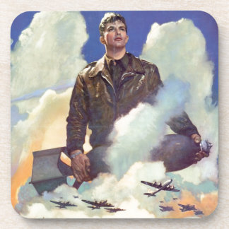 Vintage WWII Army Air Force Poster Design Drink Coaster