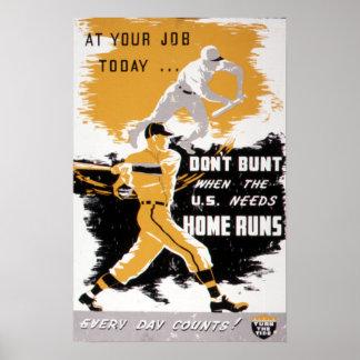 """Vintage WWII """"Don't Bunt"""" Baseball Homefront Poster"""