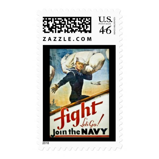 Vintage WWII Navy Recruiting Stamp