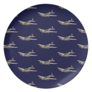 Vintage WWII US Aircraft 2 Party Plates