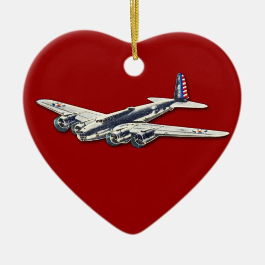 Vintage WWII US Aircraft Ceramic Ornament