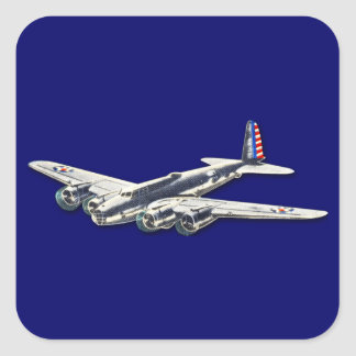 Vintage WWII US Aircraft Square Sticker