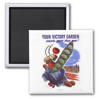 Vintage WWII Victory Garden Propaganda Poster 2 Inch Square Magnet