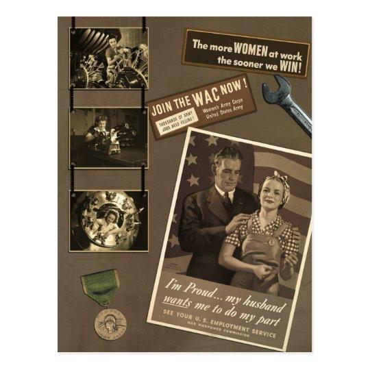 "Vintage ""WWII Woman"" Scrapbook Postcard"