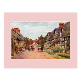 Vintage Wyre village rural Lancashire art Postcard