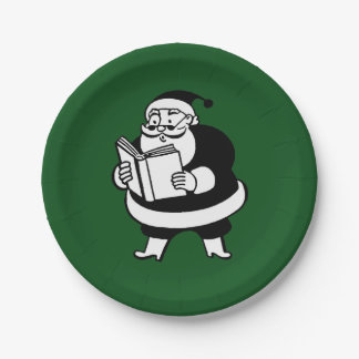 Vintage X-Mas Black & White Reading Santa on Green Paper Plate