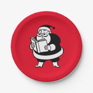 Vintage X-Mas Black & White Reading Santa on Red Paper Plate