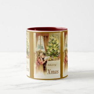Vintage Xmas 1902 Two-Tone Coffee Mug