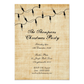 Vintage Xmas Christmas Tree Fairy Lights Party Card