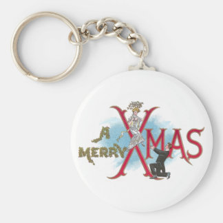 Vintage XMAS Couple in Formal Wear Keychain