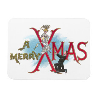 Vintage XMAS Couple in Formal Wear Magnet