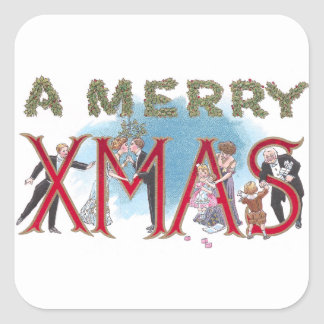 Vintage XMAS Formal Wear Partiers Square Stickers