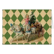 Vintage Xmas Horses & Angel Card