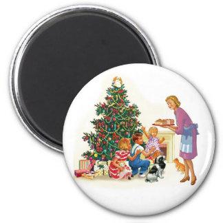 Vintage Xmas Mom & Kids Magnet