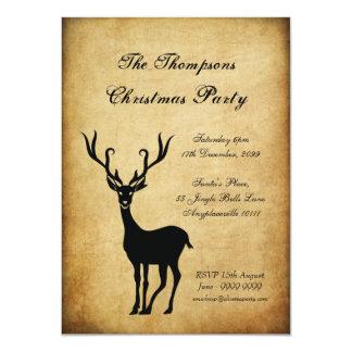 Vintage Xmas Reindeer Christmas Party Card