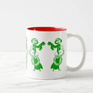 Vintage Xmas Shoppers Two-Tone Coffee Mug