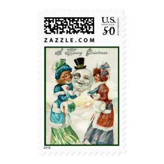 Vintage Xmas Snowman Postage