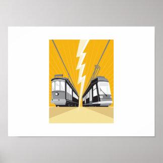 Vintage y tren moderno de la tranvía del tranvía posters