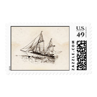 vintage yacht drawing postage stamps