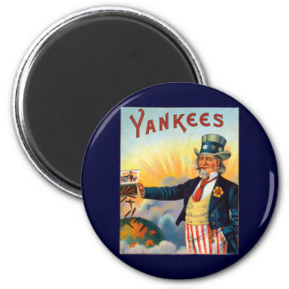Vintage Yankees Cigar Label, Patriotic Uncle Sam 2 Inch Round Magnet