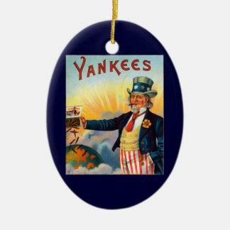 Vintage Yankees Cigar Label, Patriotic Uncle Sam Christmas Tree Ornaments