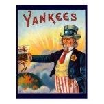 Vintage Yankees Cigar Label, Patriotic Uncle Sam Postcard