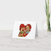 Vintage Yarn Doggies Valentine Card
