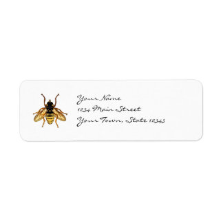 Vintage Yellow and Black Bee Label