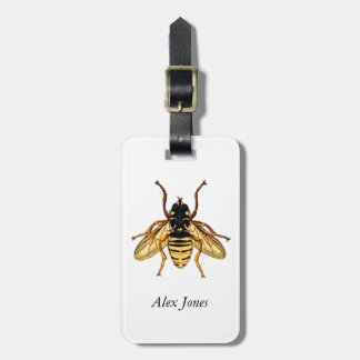 Vintage Yellow and Black Bee Luggage Tag