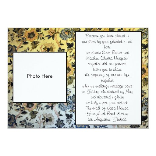 "Vintage Yellow and Blue Floral Wedding Invitations 5"" X 7"" Invitation Card"