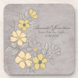 Vintage Yellow and Gray Floral Wedding Beverage Coaster
