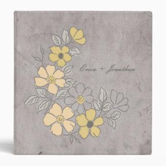Vintage Yellow and Gray Floral Wedding Vinyl Binders