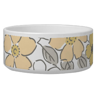 Vintage Yellow and Gray Floral Wedding Bowl