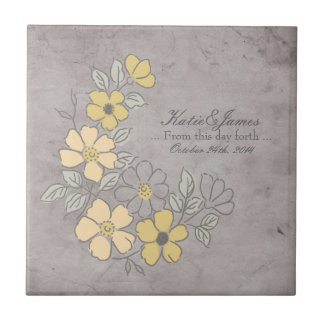 Vintage Yellow and Gray Floral Wedding Ceramic Tile