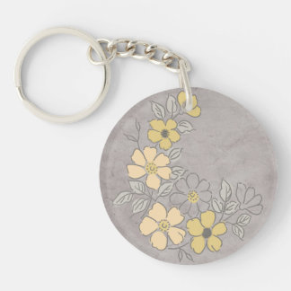 Vintage Yellow and Gray Floral Wedding Keychain