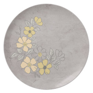Vintage Yellow and Gray Floral Wedding Dinner Plates