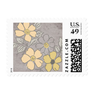 Vintage Yellow and Gray Floral Wedding Postage Stamp