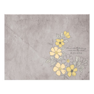 Vintage Yellow and Gray Floral Wedding Program Flyer