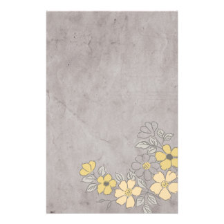 Vintage Yellow and Gray Floral Wedding Stationery Paper