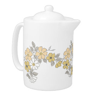 Vintage Yellow and Gray Floral Wedding Teapot